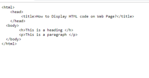 How To Display Html Code On Web Page